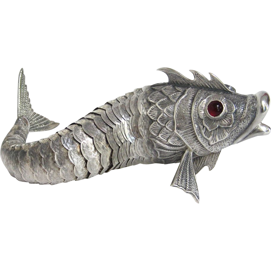 Rare silver articulated fish art deco era from spain from - Art deco espana ...