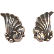 Vintage Sterling Silver La Paglia for Georg Jensen Earrings