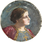 Italian Portrait of a Saint on a Glass Plate circa 1902