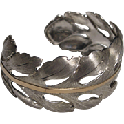 Handmade Acanthus Leaf Sterling Silver and 18K gold Cuff Bracelet