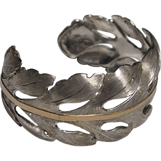 Handmade Acanthus Leaf Sterling Silver and 18K gold Cuff Bracelet