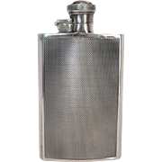 English Sterling Silver Engine Turned Hip Flask by James Dixon & Sons, circa 1911