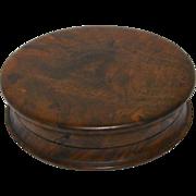 19th Century Burl Wood Snuff Box