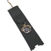 Victorian Era Black Ribbon Fob with Agate