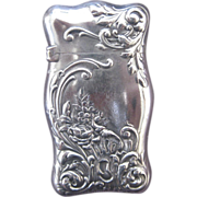 R. Wallace & Sons Sterling Silver and Gilt Match Safe with Floral Decoration