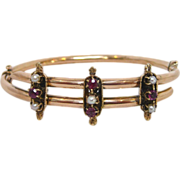 14 K Rose Gold Etruscan Revival , Pearl, and Garnet Bracelet, circa 1880s