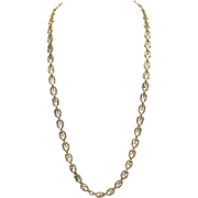 18 KT Yellow Gold Victorian Woven Link Chain
