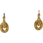 Victorian Etruscan Revival 20 K Yellow Gold Earrings