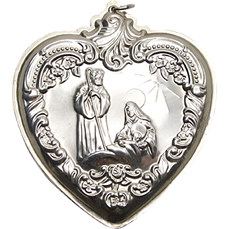 Wallace Sterling Silver Nativity Scene Christmas Ornament