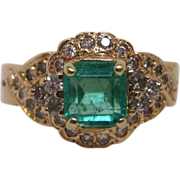 18K Gold, Emerald, and Diamond Ring