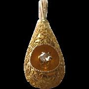 Victorian Etruscan Revival 14K Gold Drop Pendant