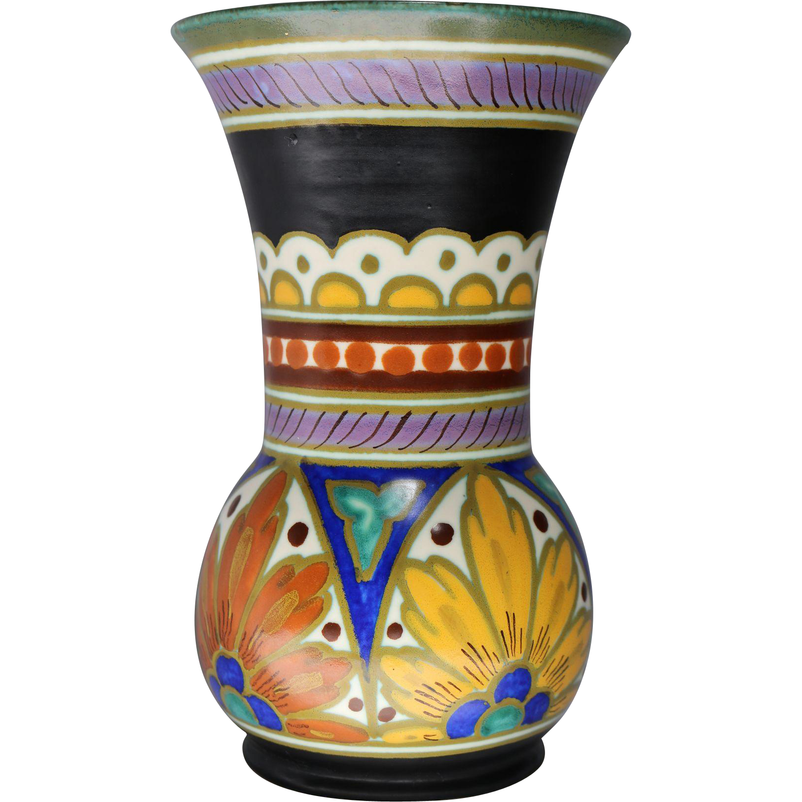 Gouda art pottery vase in desire royal pattern circa 1950s for Pottery patterns
