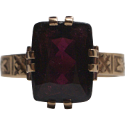 14K Rose Gold Victorian Red Garnet Ring