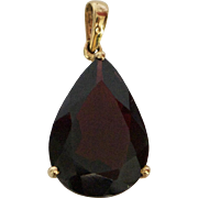 Vintage 10K Gold and Red Garnet Pear Drop Pendant