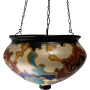 Gouda Art Pottery Hanging Pot/Planter by Regina in the Rosario Pattern circa 1920s