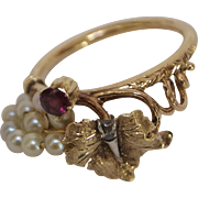 Romantic Victorian Grape-leaf Motif Ruby, Pearl and Diamond Ring