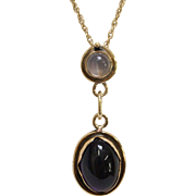 14 Karat Yellow Gold, Amethyst and Moonstone Pendant