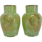 19th Century Harrach Springtime Art Glass Vases