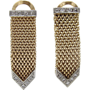 Vintage Diamond and 18KT Gold Mesh Earrings
