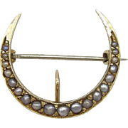 Edwardian 14KT Gold and Pearl, Crescent Moon Brooch