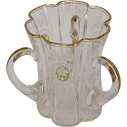 Victorian Glass Loving Cup with Flower Pattern and Gold Enamel