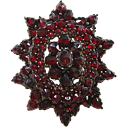 Star Shaped Bohemian Garnet Rose Cut Pendant Brooch circa 1880