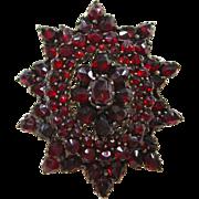 Star Shaped Bohemian Garnet Rose Cut Pendant Brooch circa 1880