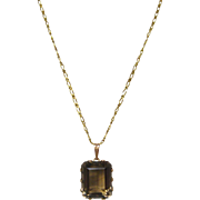 Smoky Topaz Pendant set in 14 K Gold with 14 K Gold Chain circa 1940
