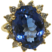 7 Carat Tanzanite, and Diamond Ring in 14K Gold by LeVian