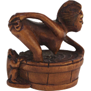 Erotic Japanese Netsuke of Bathing Girl and Peeping Frog
