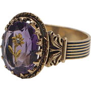 14kt Gold, 3.5ctw Amethyst, and Diamond Ring from Victorian Era