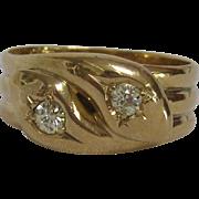 18K Gold and Diamond Edwardian Snake Ring
