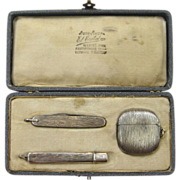 Silver (800) Match Safe, Pocket Knife, and Toothpick Holder Matched Set in Original Case, circa early 1900s