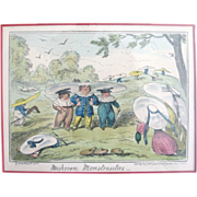 "George Cruikshank ""Mushroom Monstrosities"" Hand Colored Print from 1835"