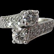 Diamond Bypass Ring in 14 K White Gold