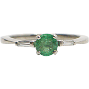 14kt White Gold, Natural Emerald, and Diamond Ring