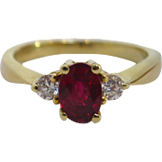 18 K Yellow Gold, Ruby, and Diamond Ring