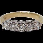 14 K White and Yellow Gold 5 Stone Diamond Ring