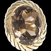 Vintage 14K Gold and Smokey Quartz Cocktail Ring