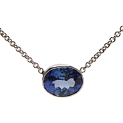 14kt White Gold and Two Carat Tanzanite Necklace