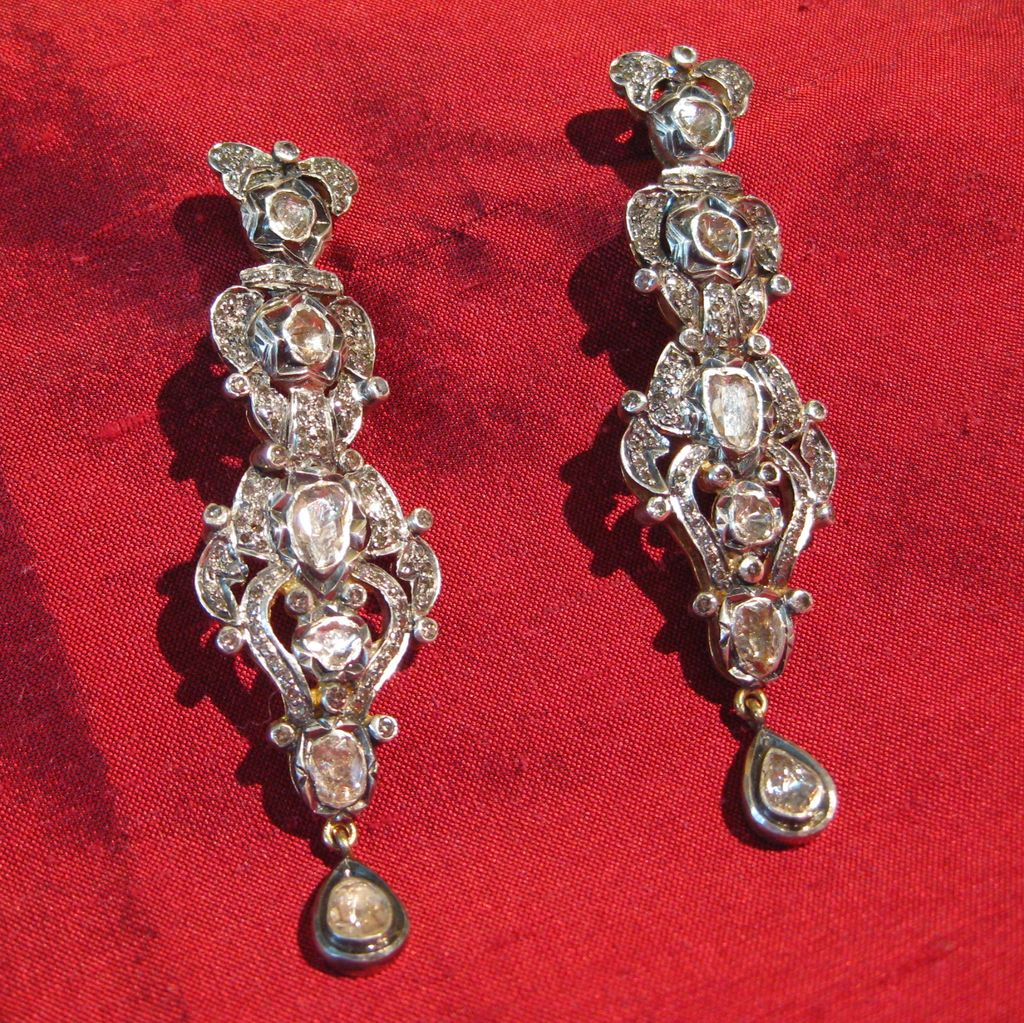 Rose Cut Diamond 14k Gold And Sterling Silver Foil Backed Earrings