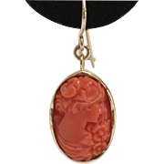 14 KT Gold and Natural Coral Cameo Earrings