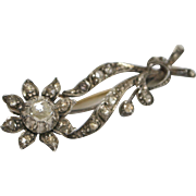 Georgian Diamond 14K Gold Back and Silver Front Flower Brooch