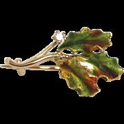 Vintage 14 K Gold Diamond & Enamel Leaf Brooch