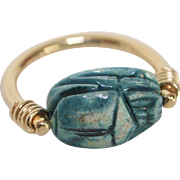 14KT Gold Egyptian Revival Luminous Blue Scarab Ring