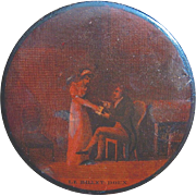 "French Papier Mache Snuff Box ""Le Billet Doux,"" circa 1810"