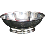 Hand Hammered Arts and Crafts Sterling Silver Serving Bowl by Cellini Craft