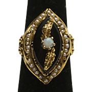 Victorian 14K Gold, Opal, Onyx and Pearl Ring