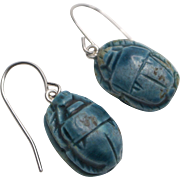 Egyptian Revival Scarab Earrings