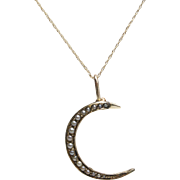 Victorian 14KT Gold Crescent Moon, Seed Pearl Pendant with Chain